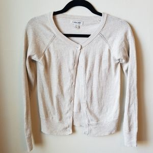 Cherokee gold shimmer cardigan, like new, 10/12